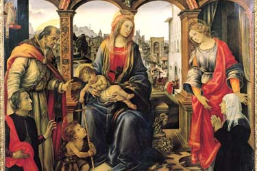 The Madonna and Child with St. John, St. Martin and St. Catherine martyr by Filippino Lippi