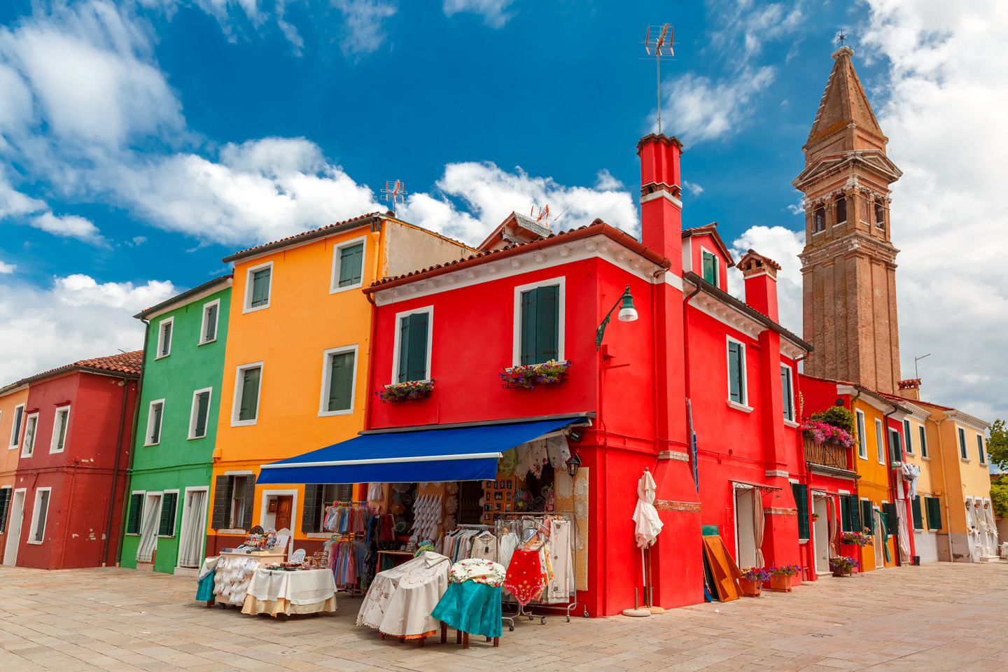 The colored houses in Burano